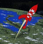 Emaille : Fusée quitte la Terre pour la Lune 1m