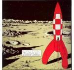 Emaille : Fusée Tintin marche sur la Lune