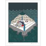 Geluck Le Chat : sérigraphie la Boxe