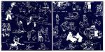 Emaille Tintin : Paire de pages de gardes bleues
