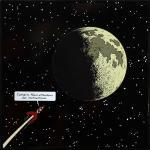 Emaille : Fusée approchant la Lune avec texte