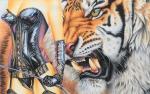 Blavier aquarelle guêpière latex tigre