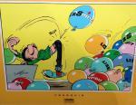 Sérigraphie Franquin Gaston ballons Spirou