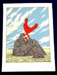 Sérigraphie : Floc'h : Hergé hommage Fusée