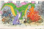 Illustration couleurs de Merlin et Elliot dragon