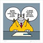 Geluck Le Chat Estampe : Avocat, Cher Maître !