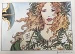 Sérigraphie : Manara : femme guerrière végétale
