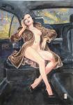 Manara aquarelle originale Claudia en vison