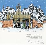 Carte de voeux Tintin au Château 1966 signée Hergé