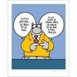 Geluck Le Chat : serigraphie Le Bien et le Mal ...