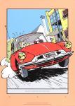Sérigraphie Franquin Spirou voiture roule seule
