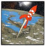 Emaille : Fusée quitte la Terre pour la Lune